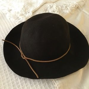 DKNY Boho Brown Felt Hat With Leather Tie